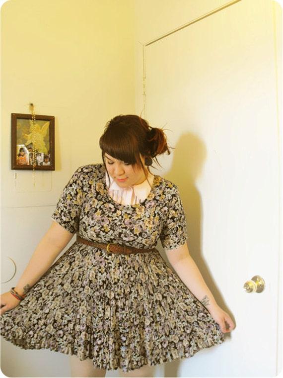 1980s Floral print dress size S / XL