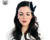 Black  fascinator hat with butterflies