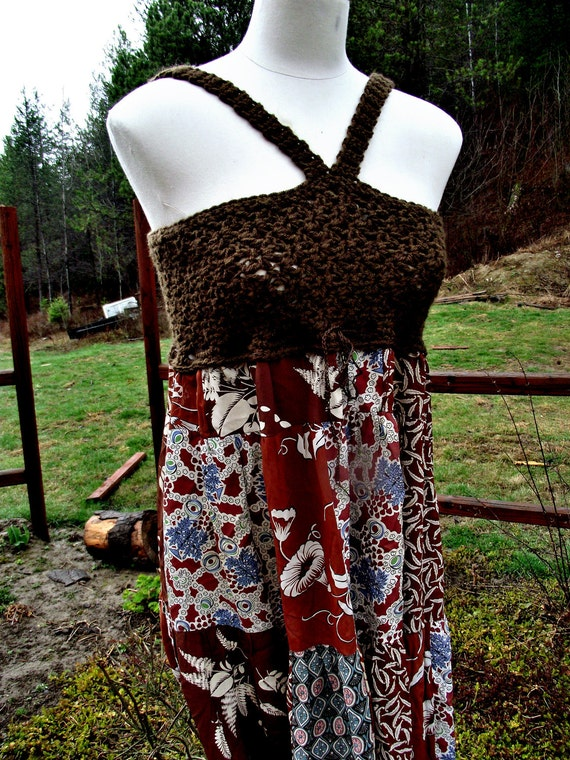 Spring Crochet Maxi Dress Pattern PDF Downloadable Eco Recycled Halter Top Pattern Beginner Crochet Pattern