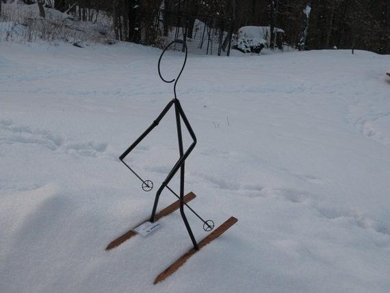 Tall skier lawn Decoration , yard, unique ornament  for  snow yard or ski lodge or chalet hut