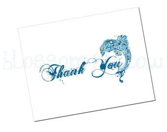 Print-It-Yourself Dolphin Thank You Card and Envelope