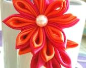 Kanzashi Flower Hairclip Hot Pink Fucshia Orange - Feel The Passion
