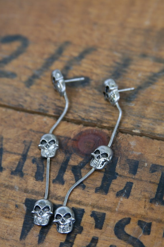 Biker Babe Skull Drop Earrings