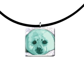 handmade, Baby Harp Seal glass tile pendant, mint green and black