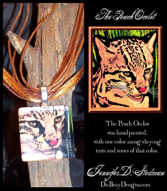 Peach and black, Ocelot, Cat art pendant, Handmade, Glass tile pendant