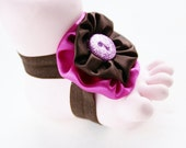 Glamour Girl Tootsies Handmade Baby Barefoot Sandals with Cute Yo-Yo and Matching Embelishments One Pair