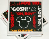 Mickey Mouse Coasters - Set of 4 - Black Red White and Yellow