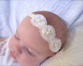 Newborn Headband - White Whimsy Spring Flower - Perfect for photo shoots - pearlized accents - Newborn to Adult