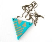 One of a Kind, Geometric Tribal Polymer Clay Necklace, Aqua Blue and Gold Triangle
