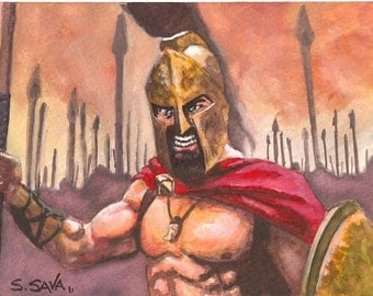 King Leonidas 300 Watercolor Painting...