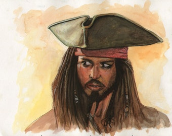 Captain Jack Sparrow Watercolor Painting