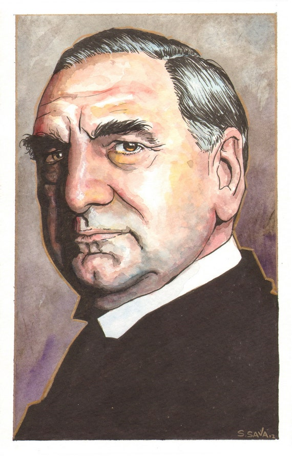 Downton Abbey's Carson  Watercolor Painting