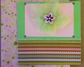 Mother's Day Card with Green, Brown, Pink and Blue Scalloped Stripes, Pink Flower and Green Tulle