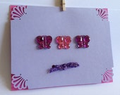 Lavender Blank Card with Rhinestone Butterflies, Purple and Pink with Glitter Purple Bow