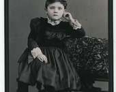 Cabinet Photo, late 1800s: Composed Young Girl in Dark Dress, Piercing Eyes by A.W. Shackford, Farmington, N.H.