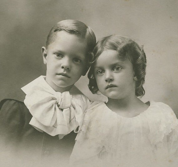 Victorian Cabinet Photo, 1897: Beautiful Young Brother and Sister in Touching, Affectionate Pose. New York. Wurst Studio