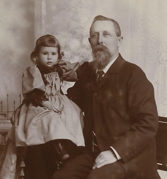 Victorian Cabinet Photo, 1895:  Little Girl Perches Next to Proud Grandpa. Springfield, Mass.