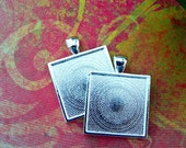 10 Blank Shiny Silver Plated 1 inch Square 25mm Bezel Pendant Tray Settings