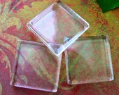 Lot of 10 1 inch 25mm Clear Transparent Square Smooth Glass Tiles