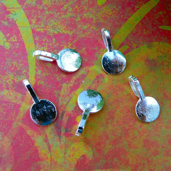 20 Large Silver Plated Glue On Bails For Pendants