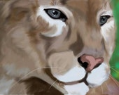 Title: Puma in pastels Signed artist print  perfect for home decor 8x10