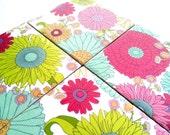 Coloful Floral Coasters Ceramic Set Flower Drink Tile