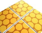 Yellow Circles Ceramic Coasters Polka Dots Tile Drink Set