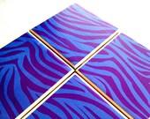 Purple Zebra Ceramic Coasters Sky Blue Drink Tile Set
