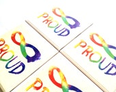 Gay Pride Coasters, Ceramic Tile, LGBT, Lesbian, Transgender, Watercolor, Human Rights, Watercolor, Drink Table Set