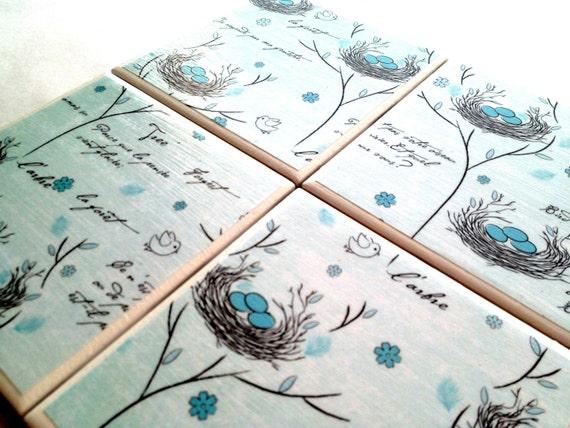 Blue Bird Coasters Set Nest Drink Tile Ceramic Turquoise
