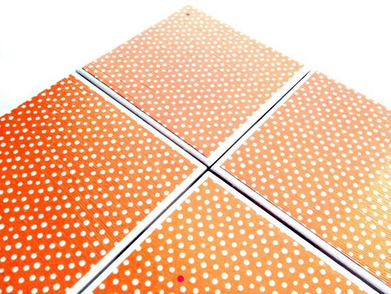Orange Dot Coasters Ceramic White Polka Dot Tile Drink