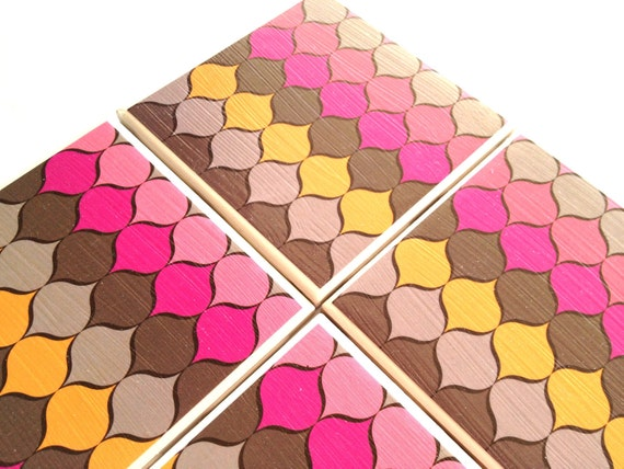 Modern Bright Ceramic Coasters Neon Pink Yellow Drink Tile Sets