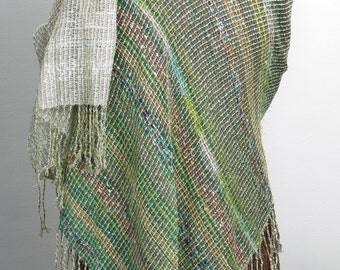 Hand woven Cashmere & Mohair shawl in Spring Green to White   (4017)