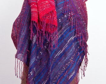 Hand woven Cashmere & Mohair shawl in Red to Navy Blue  (4024)