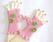 Children  Fingerless Gloves - Pink - Decorated with lovely felted flowers