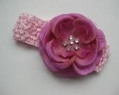 Juliet in pink - crochet headband with magnolia flower and rhinestones