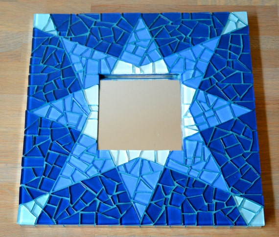 Mirror blue star glass mosaic