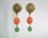 Drop Earring with Orange and Green Stones