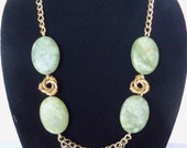 Long Statement Necklace with Green Stones