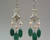 Chandelier Earring with Emerald Green Aventurine Nuggets