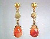 Drop Earring with Amber Stones