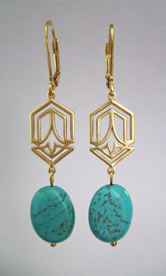 Dangle Earring with Turquoise Stones