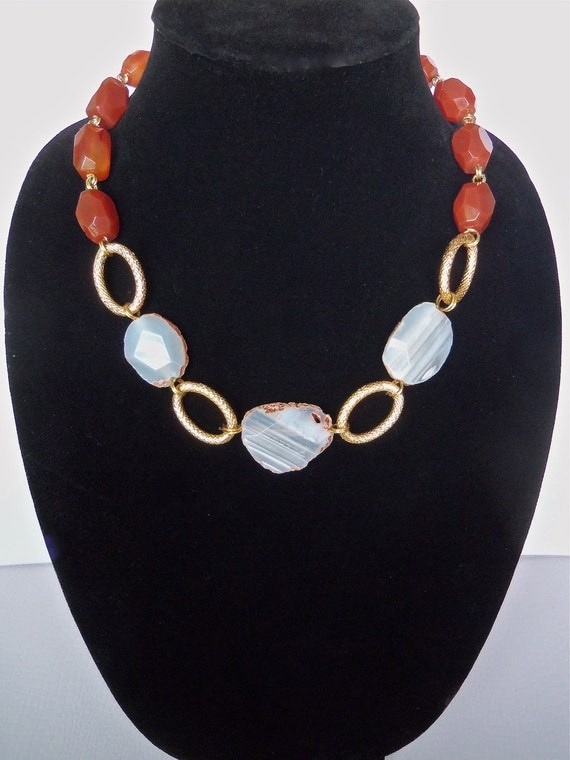 Statement Necklace with Natural Agate Slice