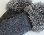 Winter Mittens Gloves Warm Grey Wool Boucle Mittens Gloves with the Gray Vegan Lama Faux Fur Vegan Accessory