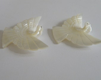 Mother of Pearl Hand Carved Dove Pendants - 2