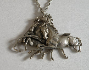 Unique Sterling Silver Horses Running Necklace - 18 inch
