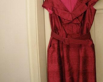 Beautiful Silk Designer Magenta Dress with Belt - Size 14