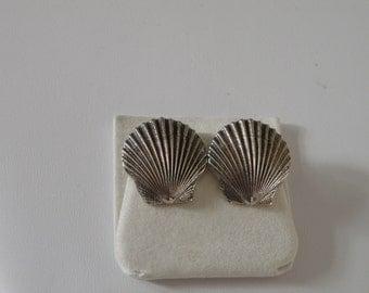 Sterling Silver Breakell Clam Shell Earrings - 925