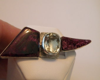 Awesome Artisan Sterling Silver Iolite and Sugilite Brooch