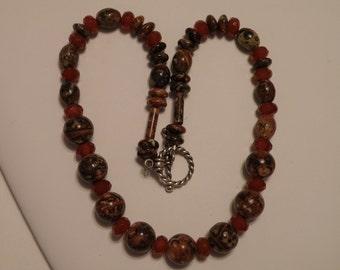Sterling Silver Jasper Bead Necklace - 16 inch